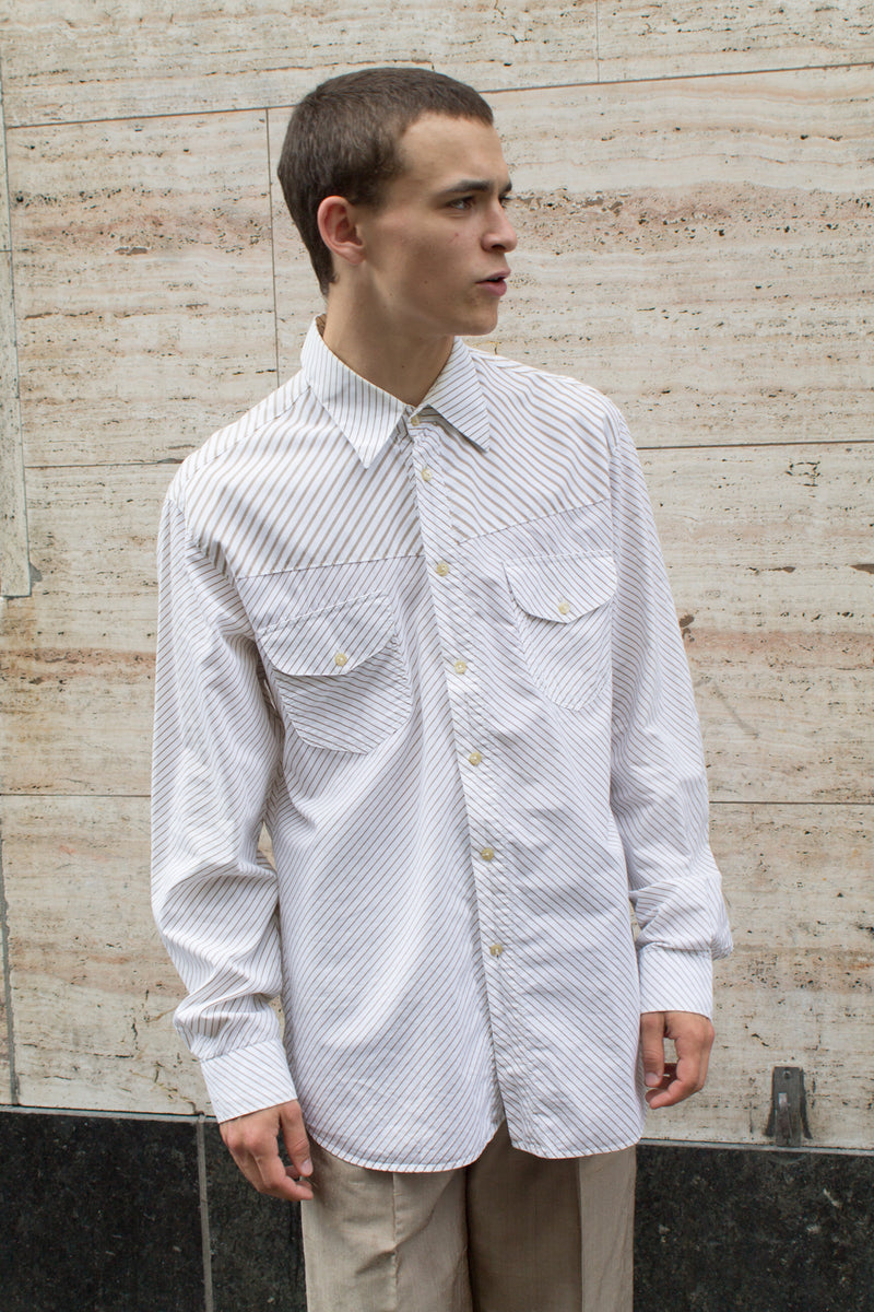 Versace Beige Offwhite Striped Shirt