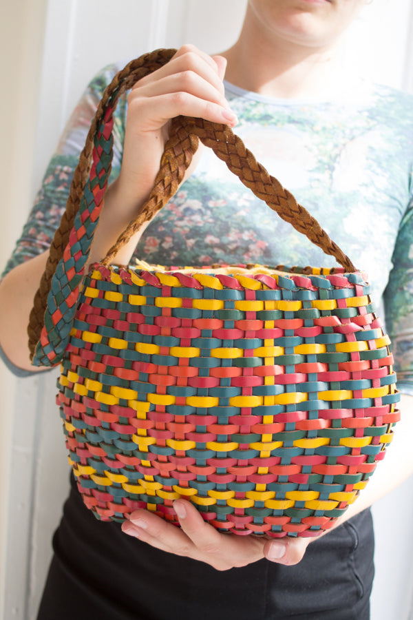 Braided Leather Circle Bag