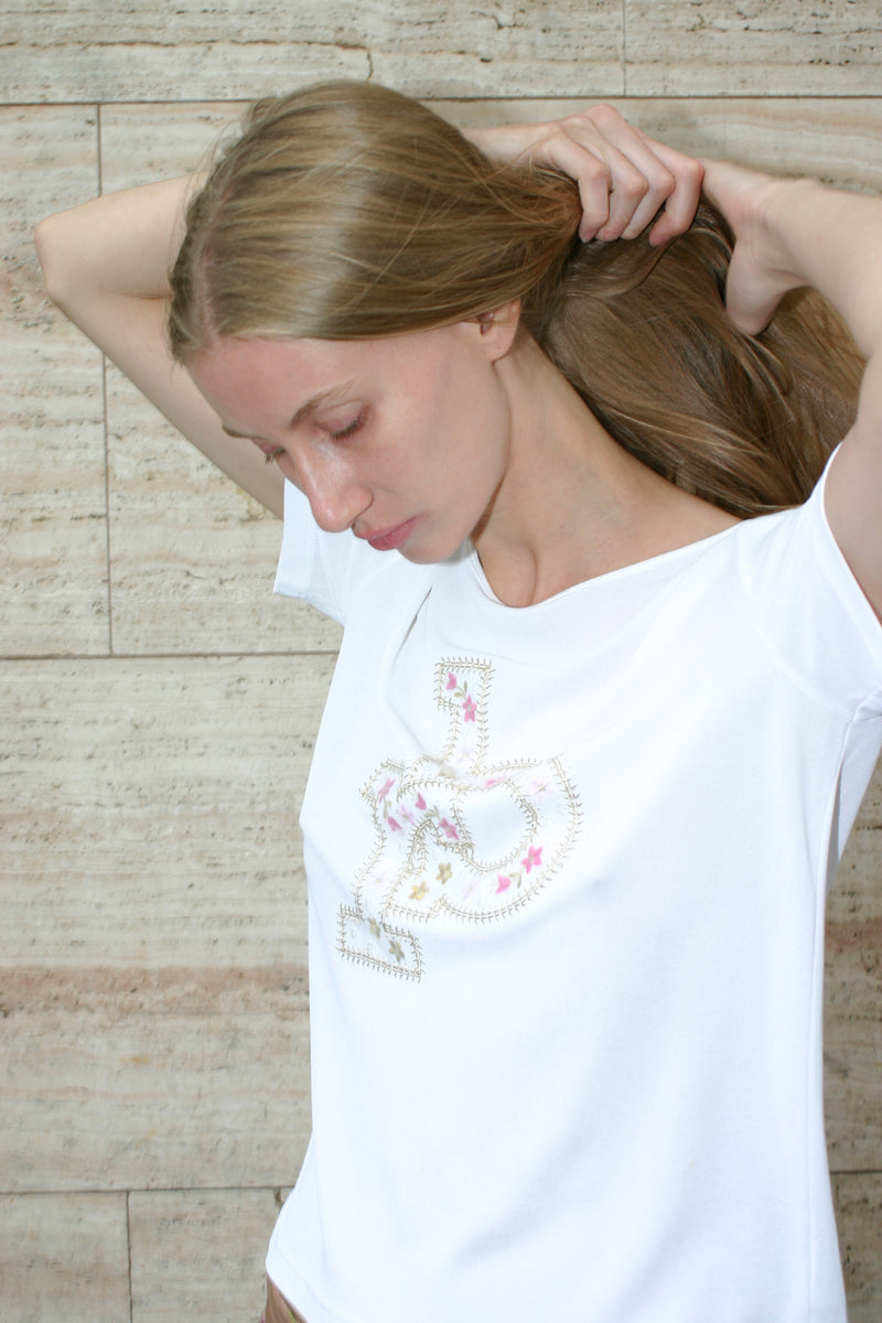 Roccobarocco White Embroidered T-shirt