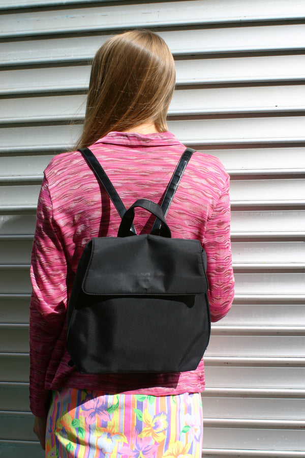 Laura Biagiotti Black Nylon Back Pack