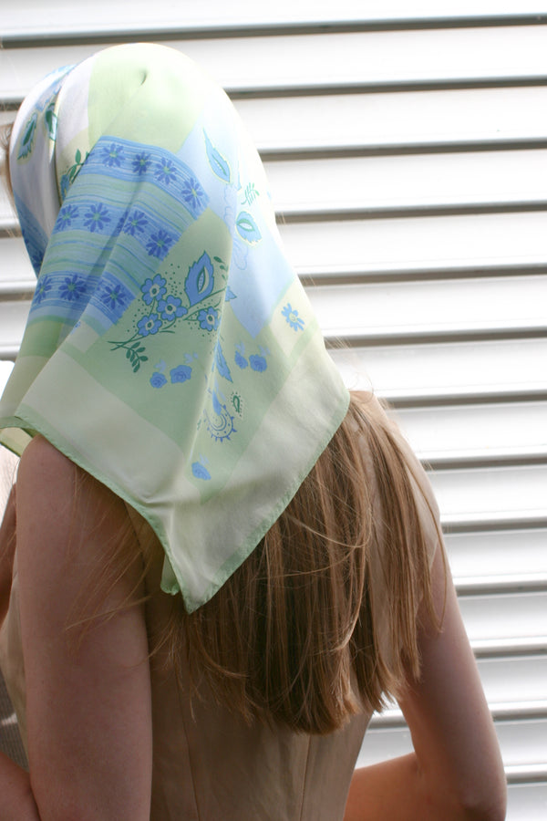 Vintage Green Flower Silk Scarf