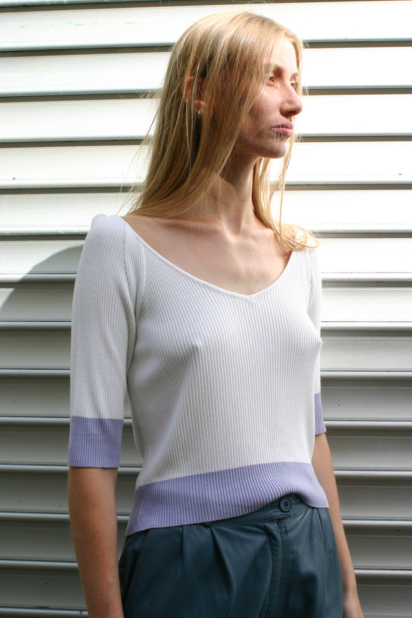 Gianfranco Ferré White Lavender Rib Top