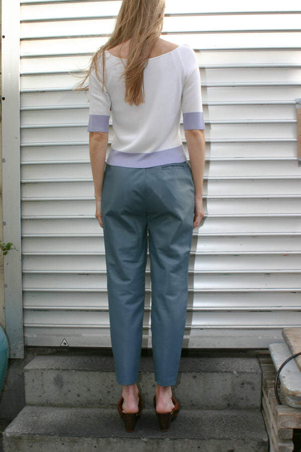 Petrolium Blue Leather Pants