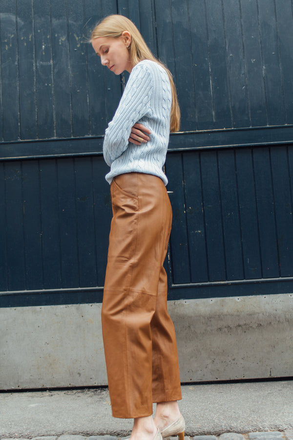 Brown Oversized Leather Pants