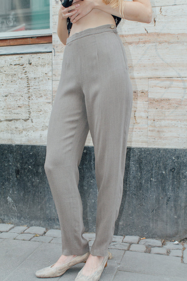 Sand Highwaisted Woolmix Trousers