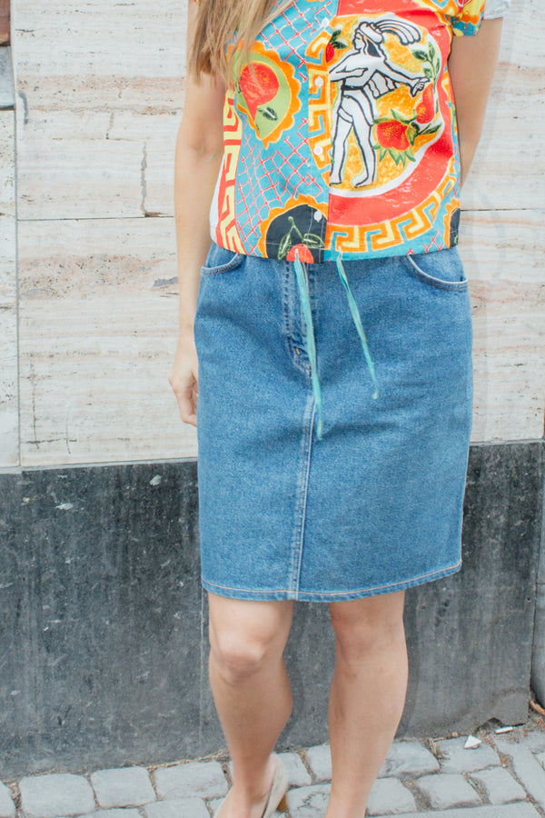 Valentino Blue Denim Skirt