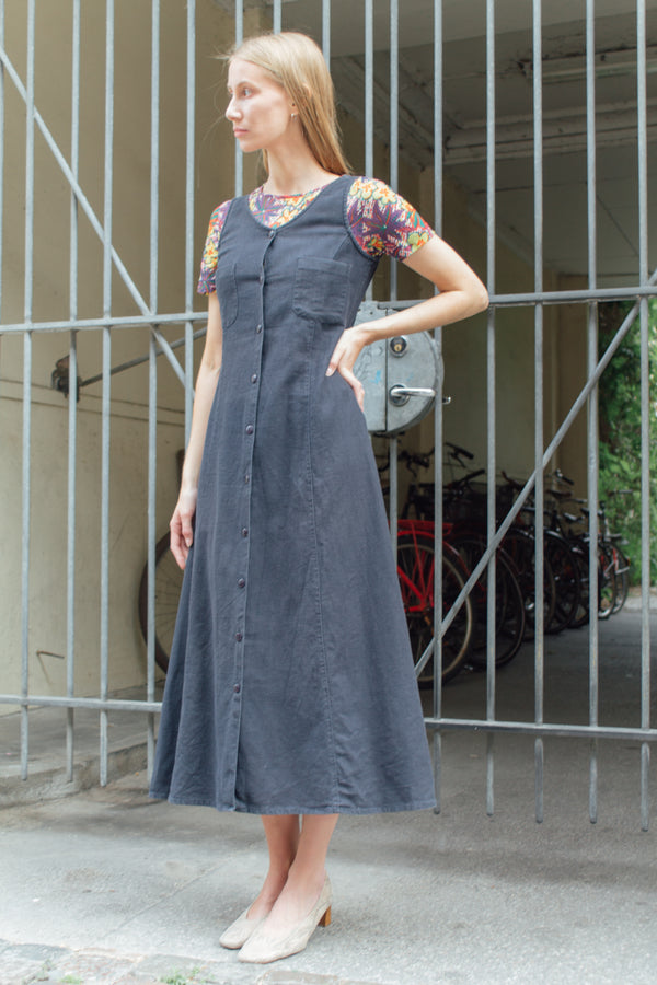 Long Navy Linen Dress