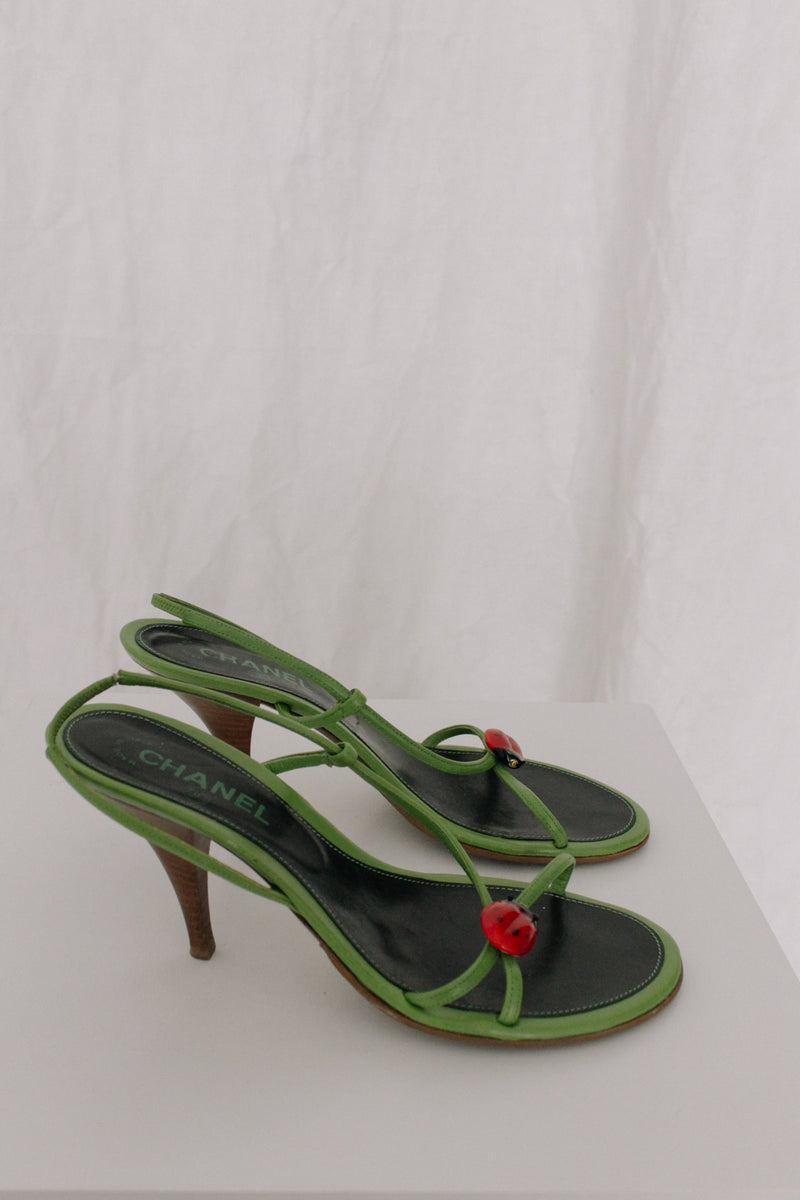 Chanel Green Ladybird Sling-Back Heels