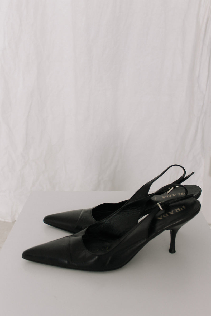 Vintage Prada Black Pointed Toe Heels