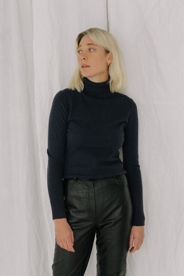 Navy Blue Cashmere Polo Neck