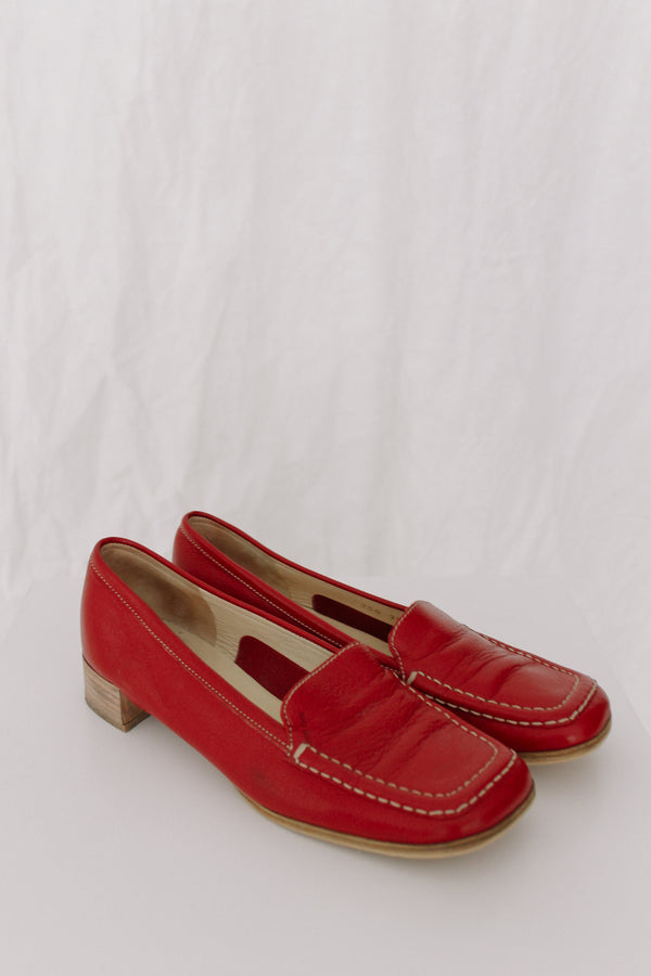 Miu Miu Red Leather Loafers