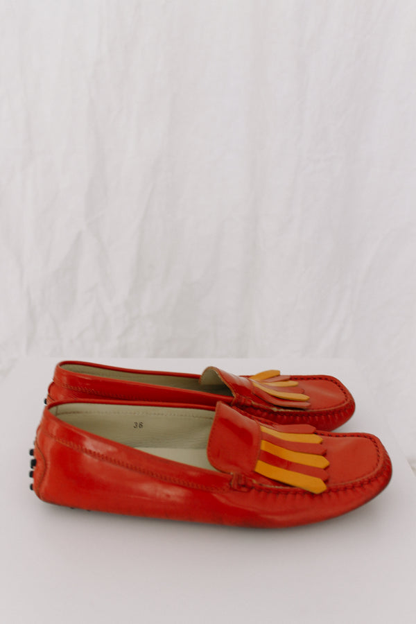 Tod's Orange Loafers
