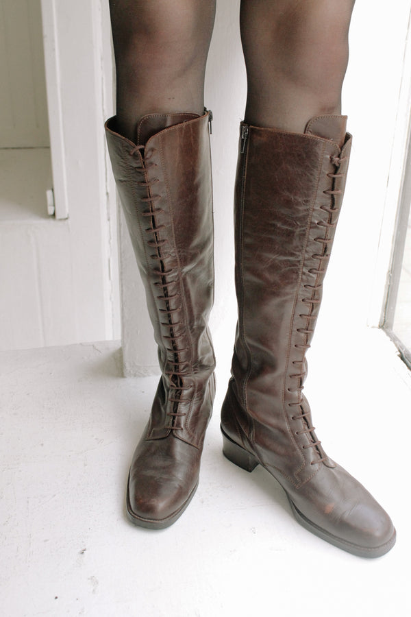 Long Lace-Up Brown Boots
