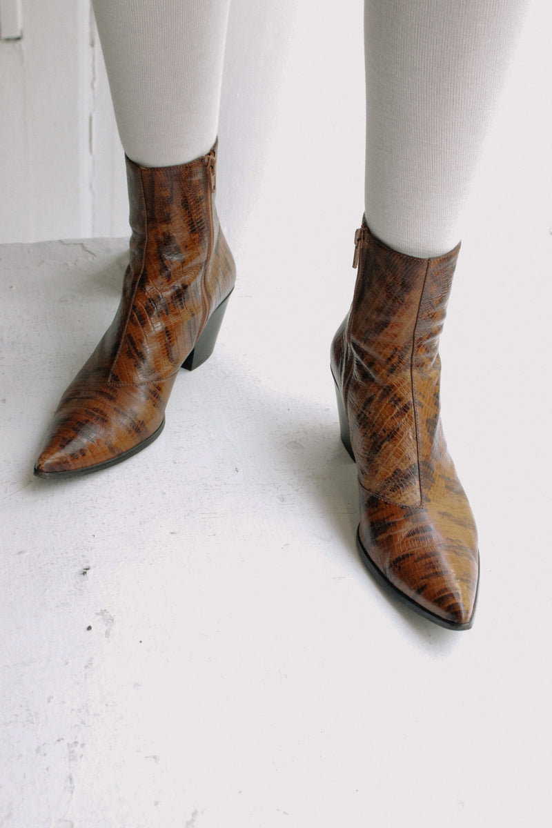 Miu Miu Brown Leather Cowboy Boots