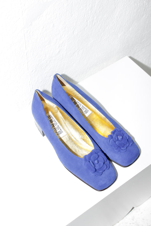 Saks Fifth Avenue Electric Blue Flower Pumps