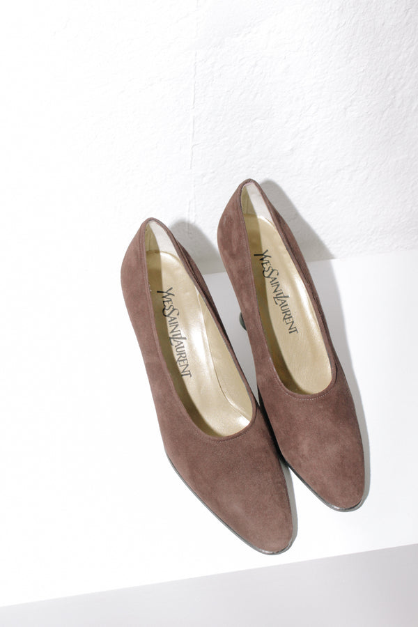 Yves Saint Laurent Brown Suede Heels