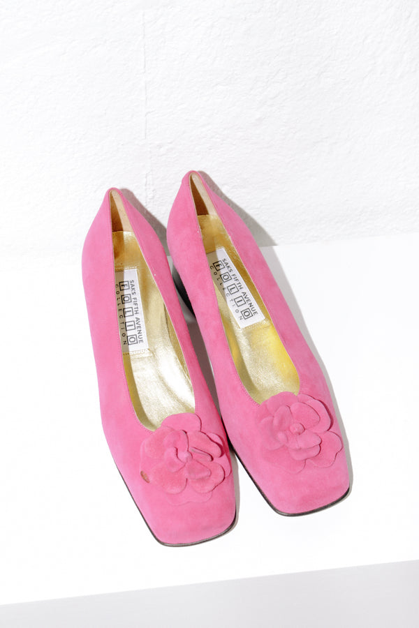 Saks Fifth Avenue Fuchsia Flower Pumps