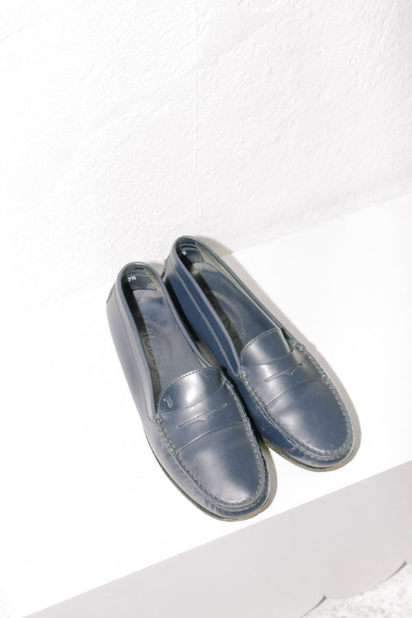 Tod's Navy Leather Loafers