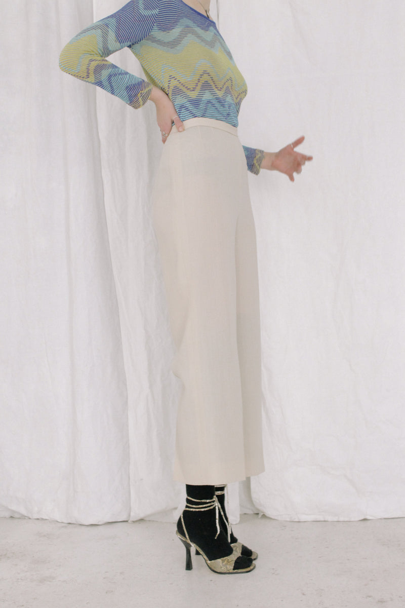 Max Mara Cream Wool High Waisted Trousers