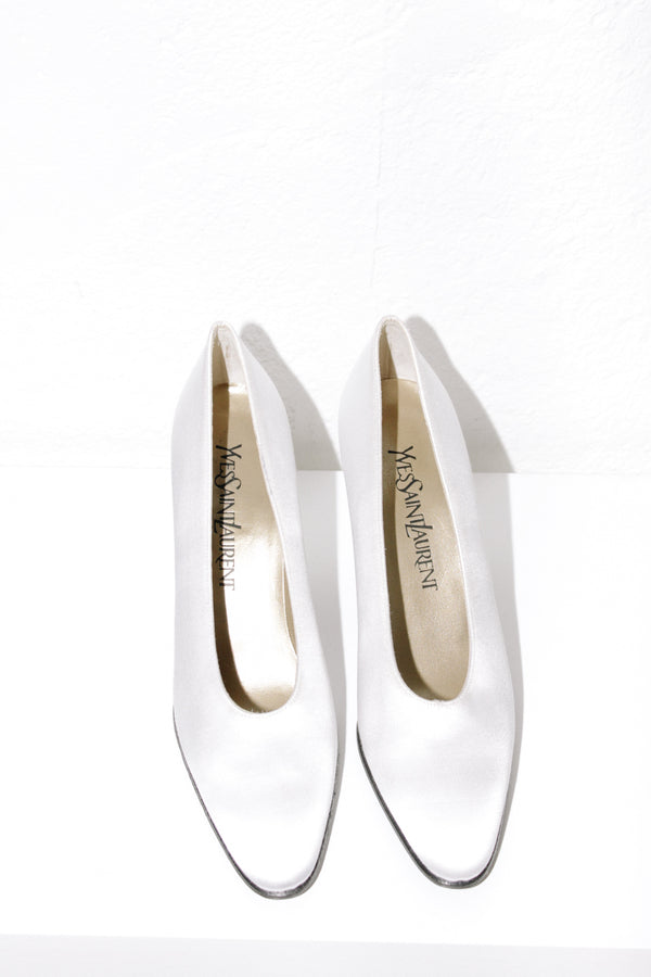 Yves Saint Laurent White Satin Heels