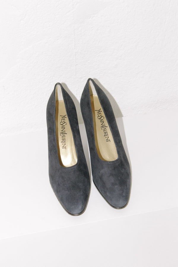 Yves Saint Laurent Navy Suede Heels