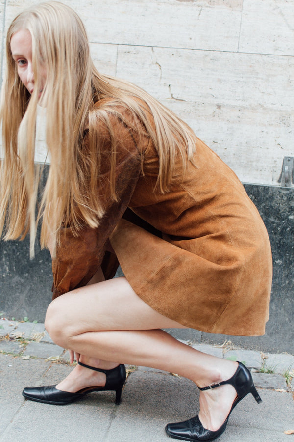 Brown Suede Leather Dress