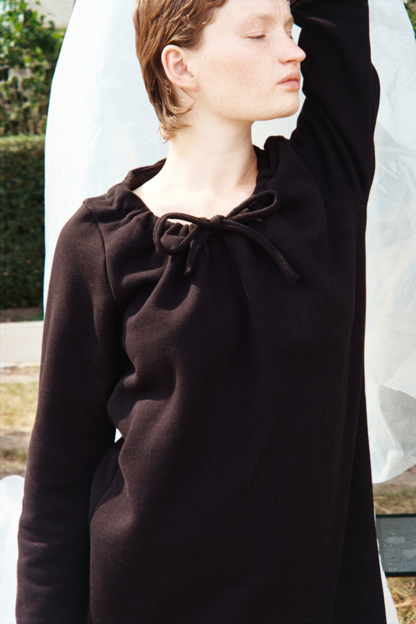 Black Drawstring Cotton Dress