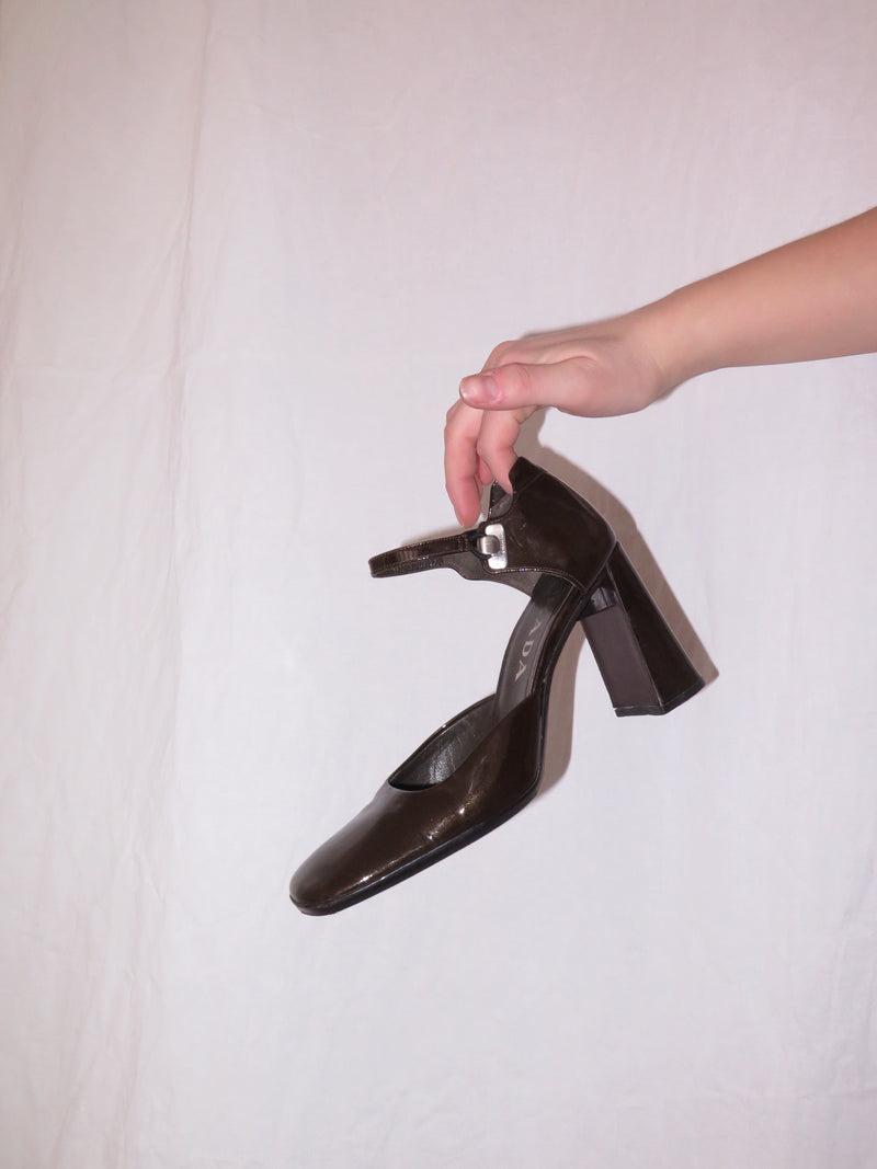 Prada Brown Patent Leather Pumps