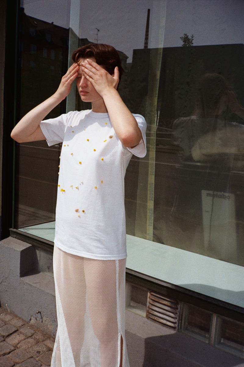 Unisex White Yellow Pearls T-shirt
