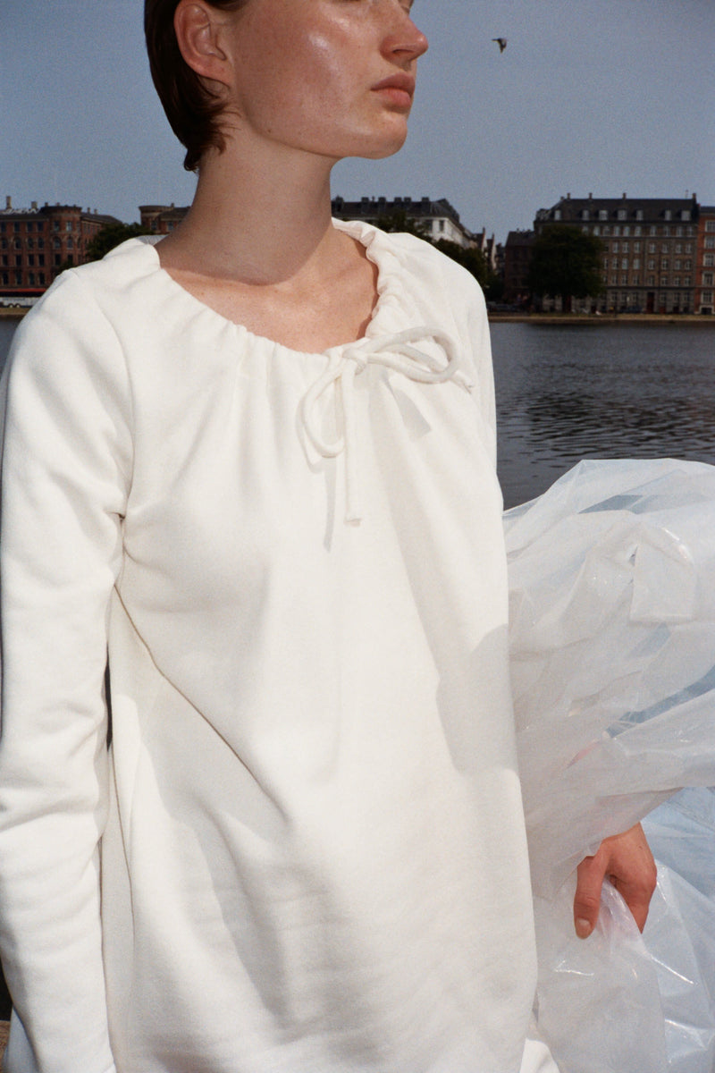 White Drawstring Cotton Dress