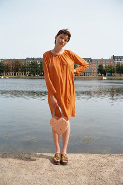 Orange Drawstring Viscose Stretch Dress