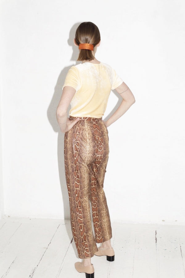Brown Faux Snake Skin Pants