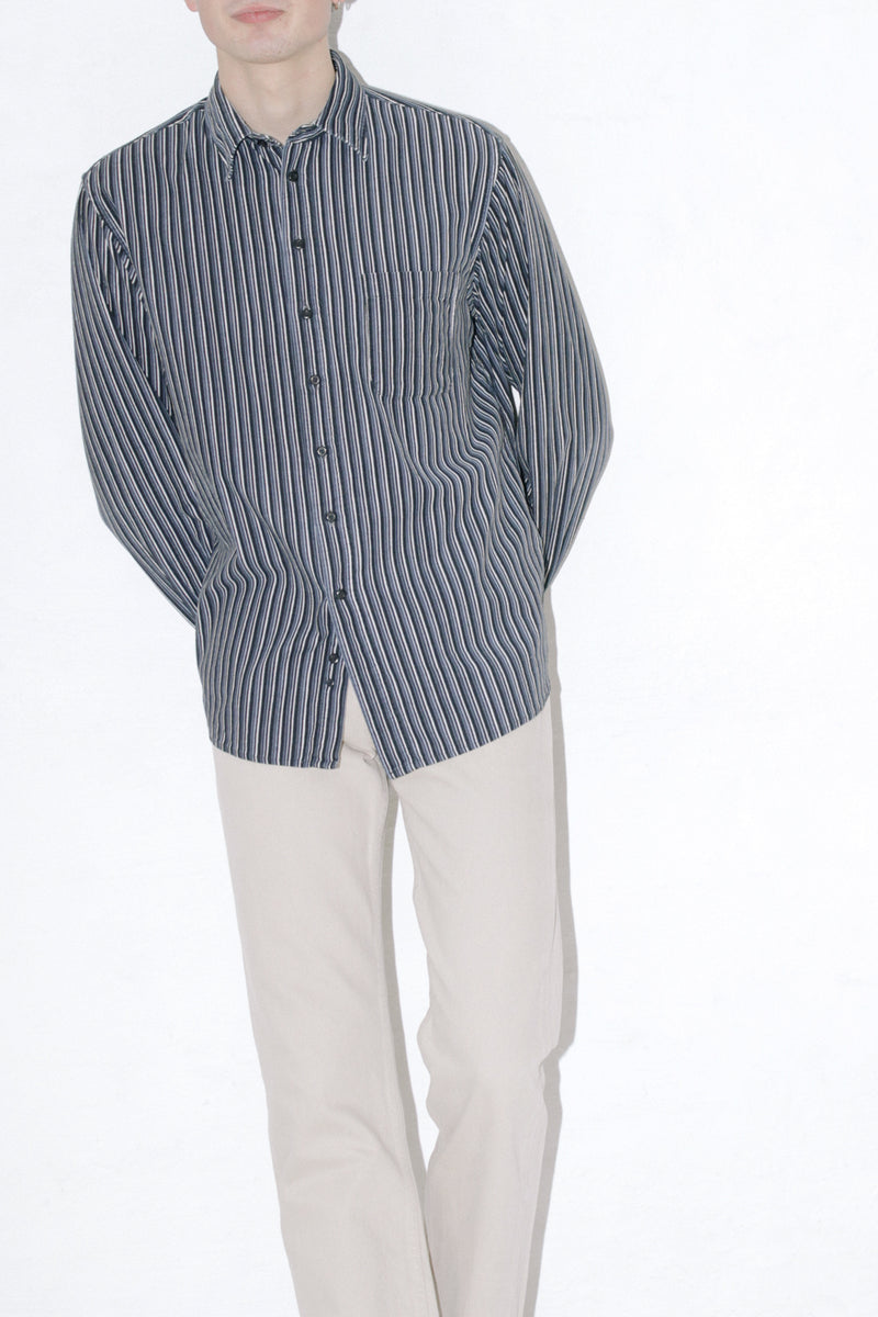 Navy Blue Striped Corduroy Shirt