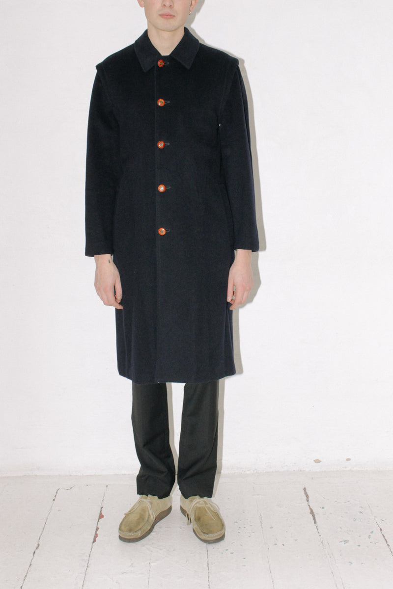 YSL Navy Tiroler Wool Coat