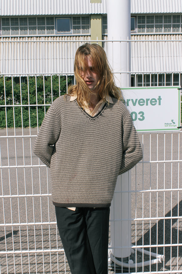 Brown Cotton Knitted Jumper