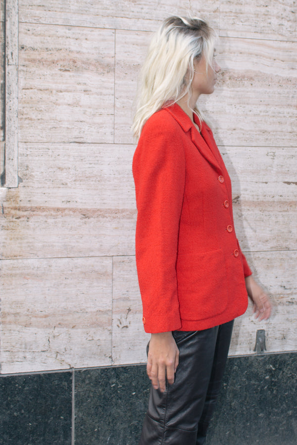 Red Bouclé Wool Blazer