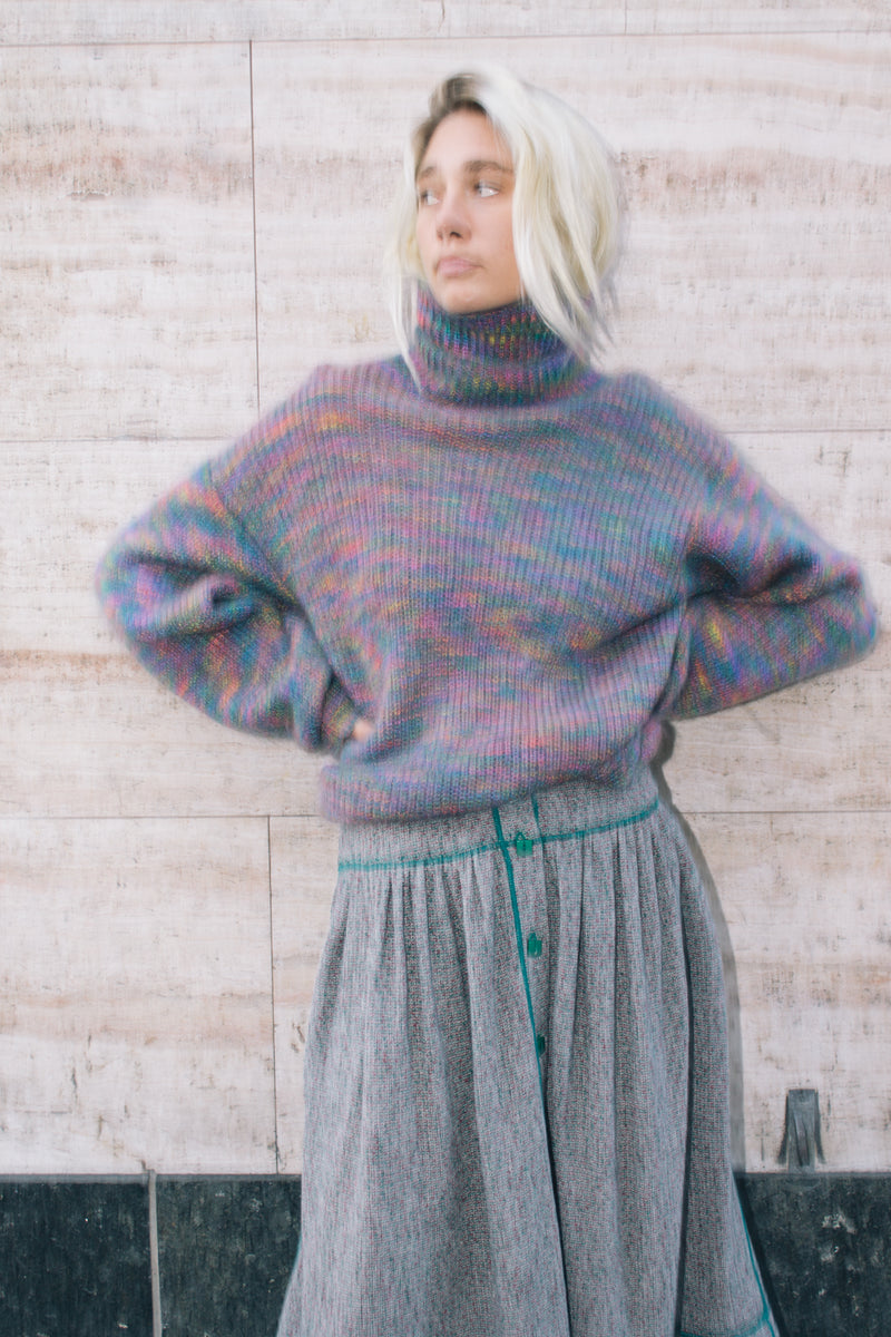 Multicolored Mohair Knit Sweater