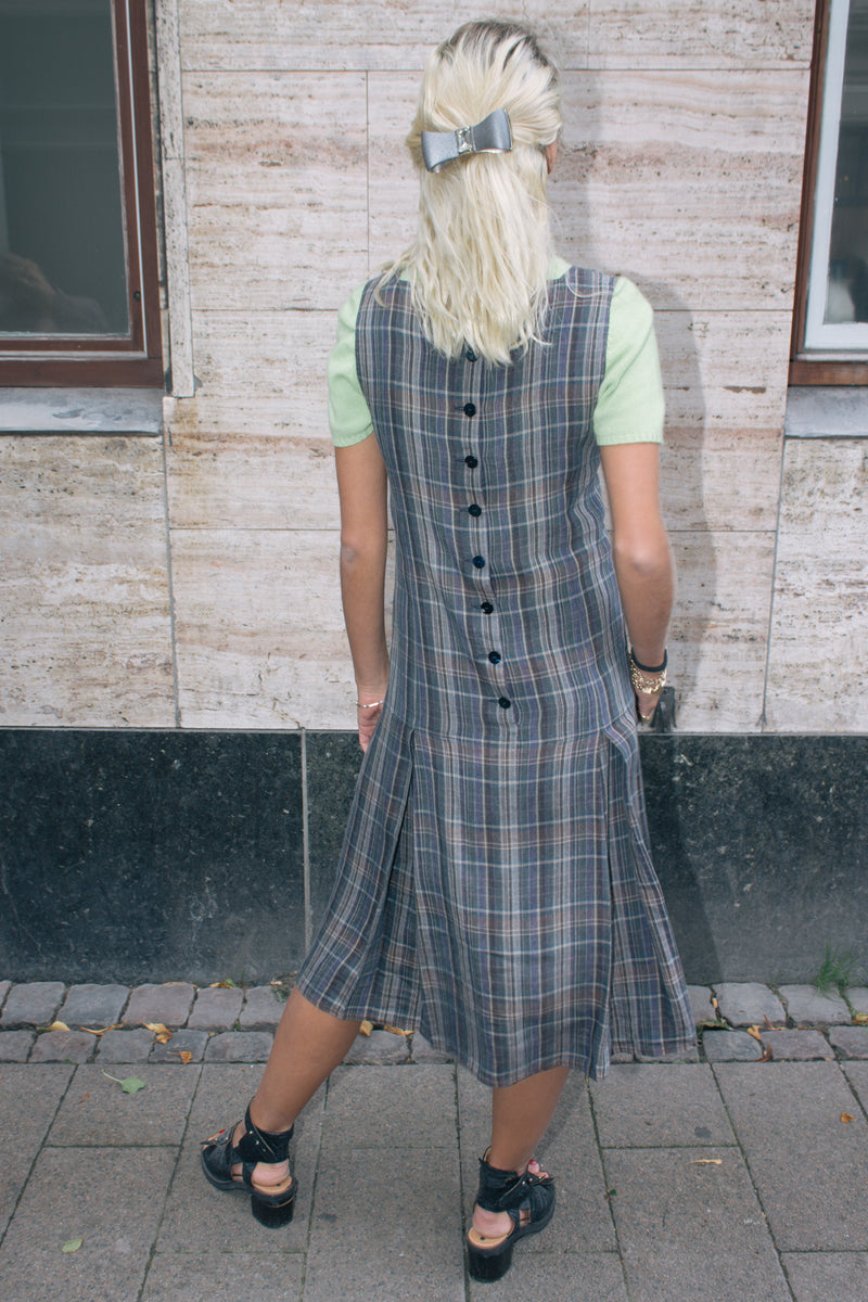 Checked Linen Pleated Dress