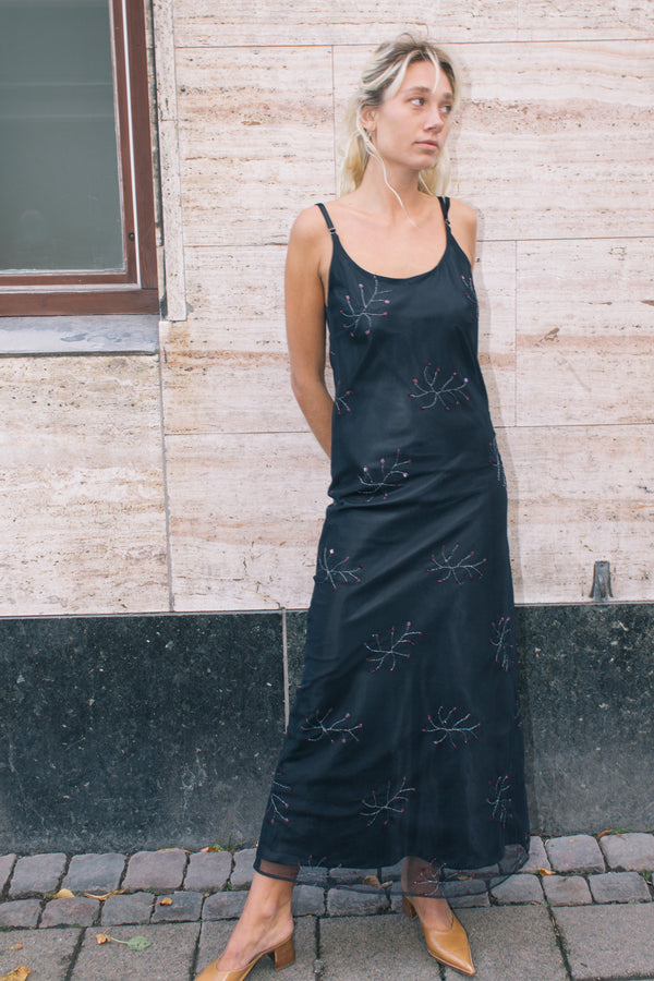 Black Sequined Evening Dress