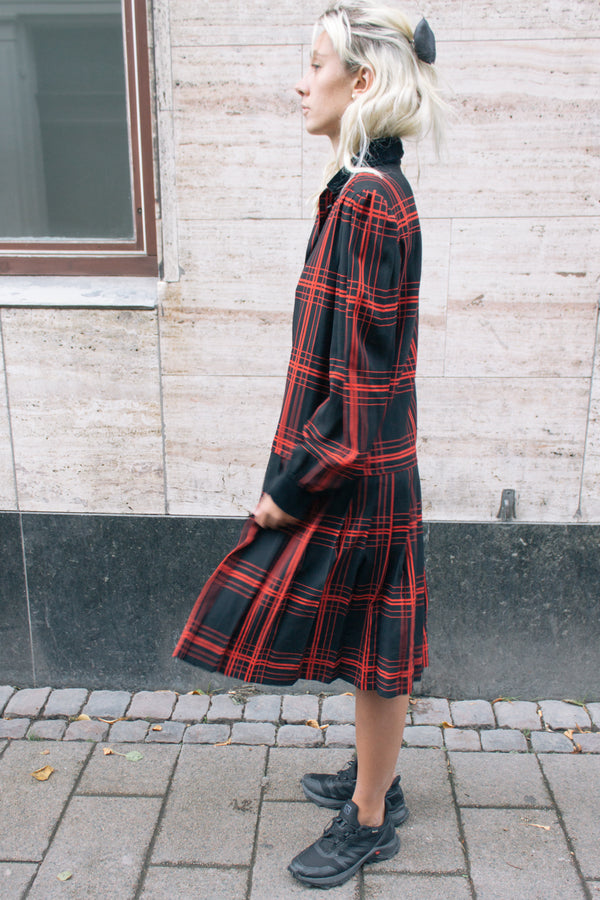 Black Red Check Pleated Dress