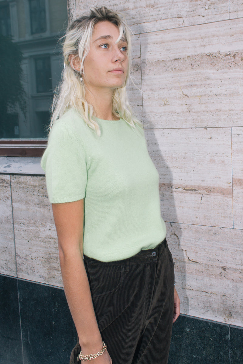 Cashmere Limegreen Short-Sleeve Sweater