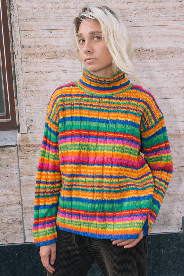 Striped Multicolored Knit Sweater