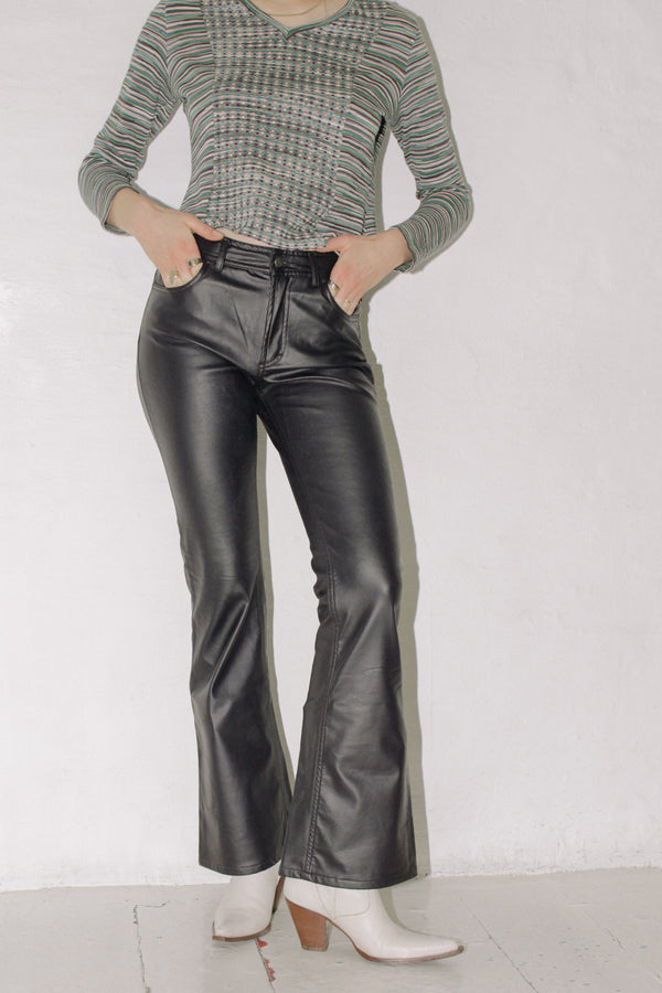 Black Faux Leather PVC Pants