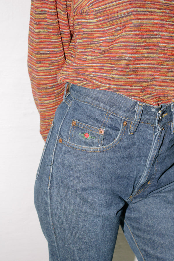 Blue Jeans Rose Embroidery
