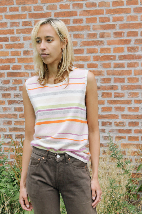 Striped cashmere vest