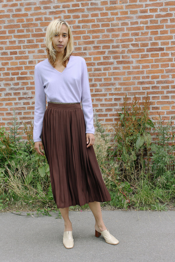 Blumarine dark brown pleated silky skirt