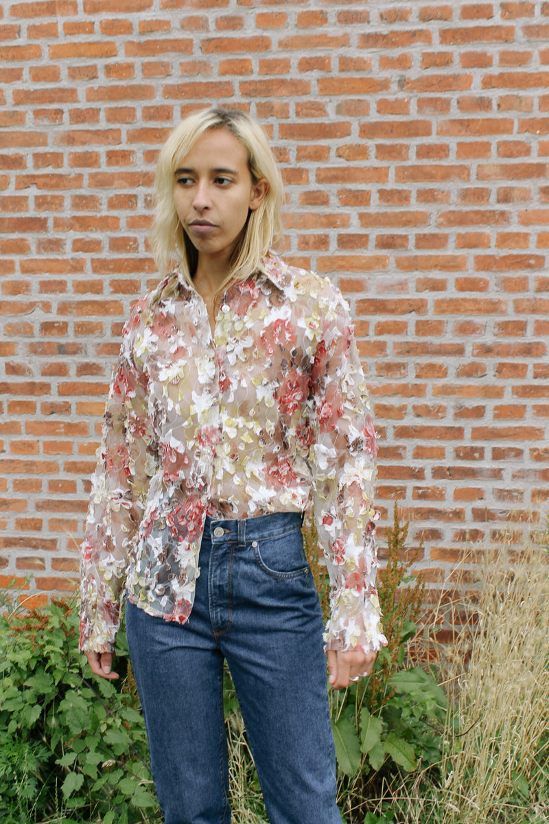 Organza and appliqué embroidered shirt