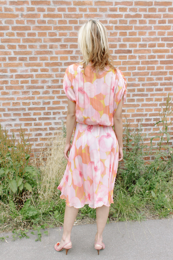 Floral printed crepe silk dress