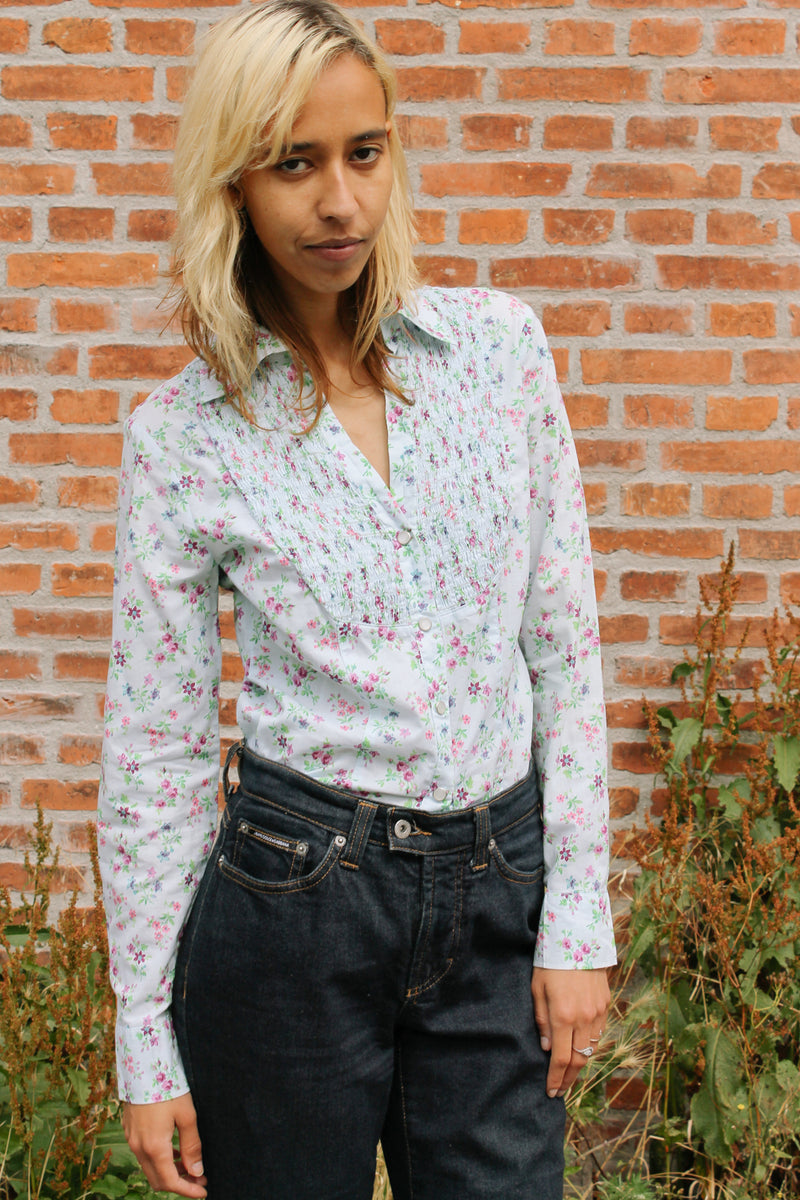 Max & co. floral smocked cotton shirt