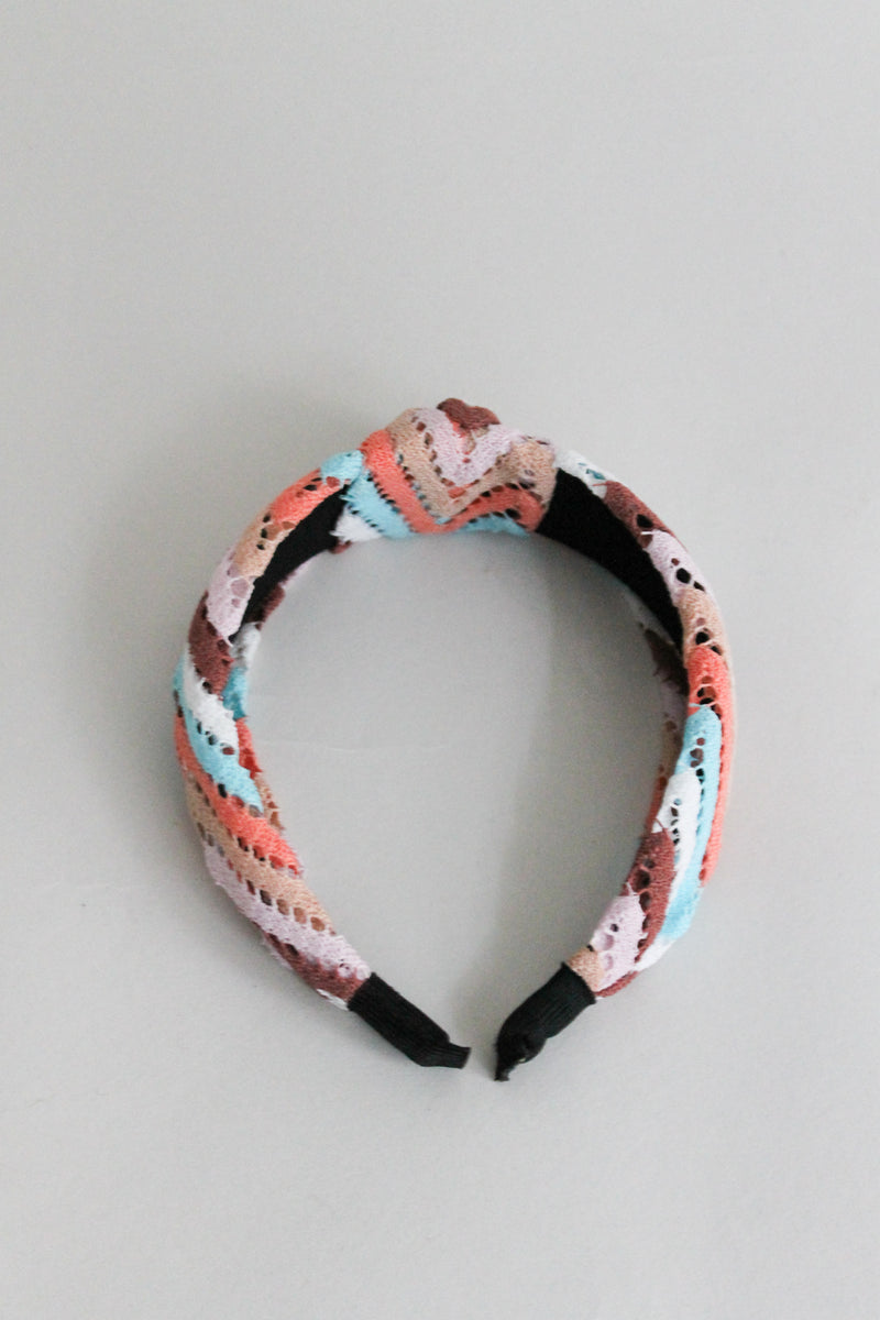 Knitted Multicolor Blue Peach Headband